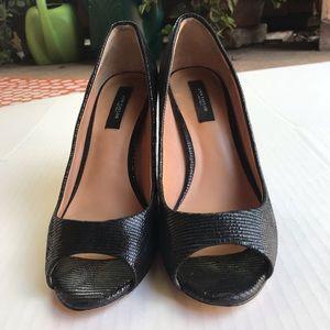 Ann Taylor Black Peep Toe Pumps Size 8.5